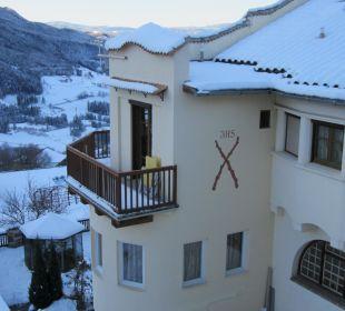 Ausblick aus der Turmsuite in den Garten Silence & Schlosshotel Mirabell