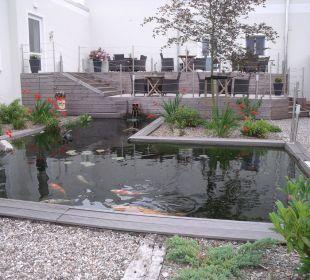 Koi-Teich im Außenbereich Hotel Kleiner Yachthafen
