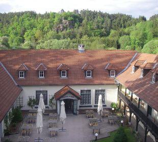 Blick vom Panoramalift auf  Restaurantbereich Wohlfühlhotel Liebnitzmühle