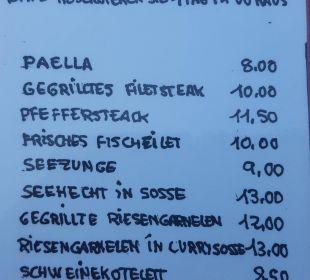Poolbar: Speisekarte mit Gerichten zum Vorbestellen Bungalows & Appartements Playamar