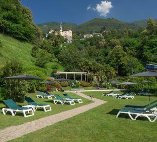 Belvedere Garten mit Blick auf Madonna del Sasso Hotel Belvedere Locarno