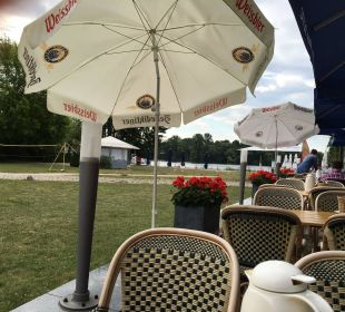 Blick zum Havelufer v. Restaurant-Terrasse arcona Hotel am Havelufer