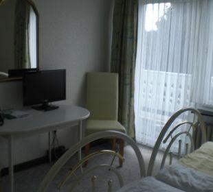 Schreibtisch und Balkon