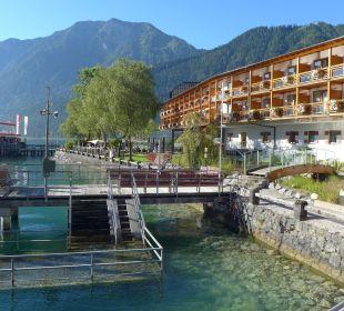 Einstieg zum See mit 18°C !! Hotel Travel Charme Fürstenhaus Am Achensee