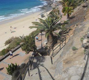 Wenige Gehminuten über Treppen nach Morro Jable Hotel Rocamar Beach
