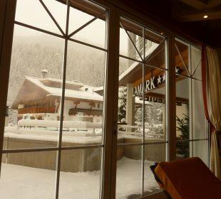 Blick vom Pool nach draußen Hotel Lamark