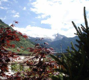 Blickvom Garten auf Gletscher Hotel Alpenhof