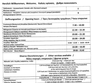 Infomaterial 2013 vom Rezeption für HP Gäste Vantaris Beach Hotel