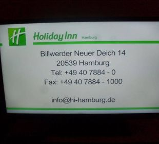 Zimmer TV Hotel Holiday Inn Hamburg