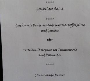Tägliche Menuekarte Landhotel Brandlhof