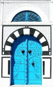 Weiß-Blau-Schwarze Tür - Künstlerdorf Sidi Bou Saïd