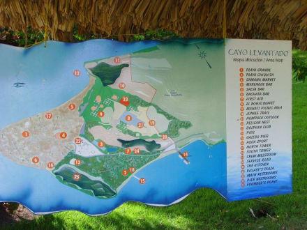 Übersichtsplan der Insel - Bacardi Insel - Isla Cayo Levantado