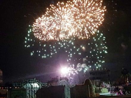 Das Eröffnungsfeuerwerk, das Ende volle Power noch - Herbstvolksfest