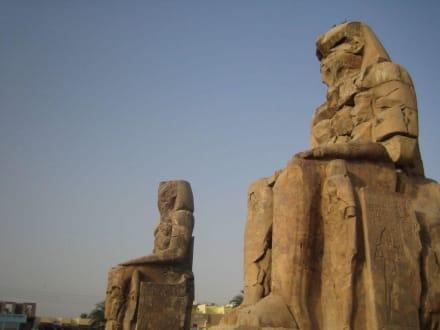Die Memnon Kollosse von der Seite - Kolosse von Memnon