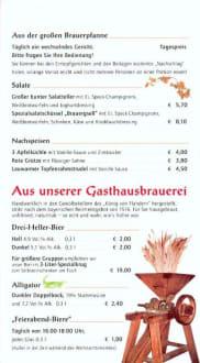 Speisekarte - König von Flandern