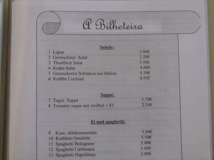 Speisekarte - Restaurant Bilheteira