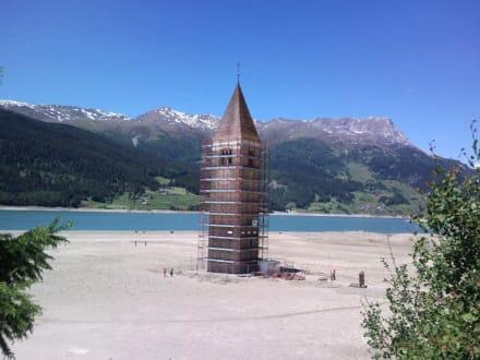 Kirchturm bei Niedrigwasser - Kirchturm im Reschensee