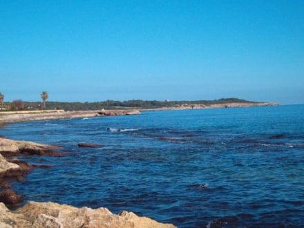 Blick vom Strand auf Punta de Amer - Strand Cala Moreia