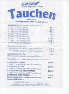 Preisliste Aquarius Tauchschule - Tauchbasis Aquarius Hurghada