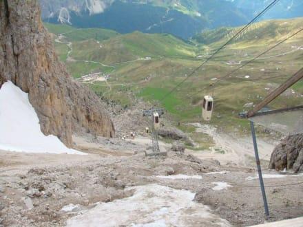 Aufstieg zur Toni-Demez-Hütte, Blick von oben - Langkofelgruppe