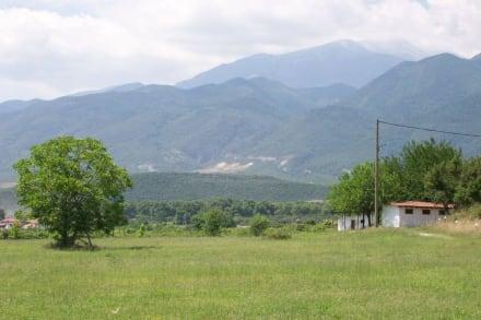 Díon- Blick über das Gelände zum Olymp-Massiv - Ausgrabung Dion