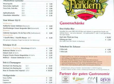 Getränke-Karte - König von Flandern