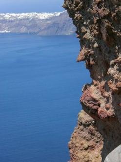Blick in Richtung Oia - Kraterwanderung Thira