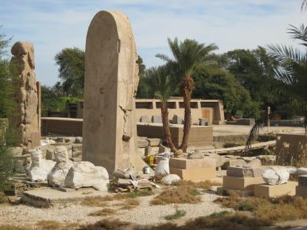 viele Steinskulpturen des Amenophis Tempels wurden leider na - Amonstempel Karnak