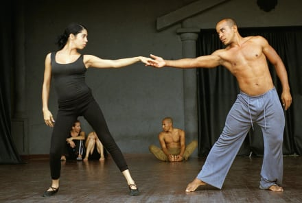 Dancers exercising -