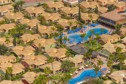 Aereal view of the hotel pools -