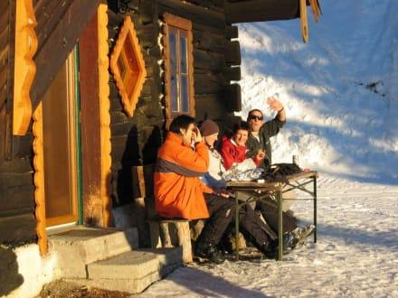 Westseite abends - Skihütte Firstwand
