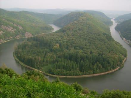 Saarschleife gesamt - Aussichtspunkt Cloef (Blick zur Saarschleife)