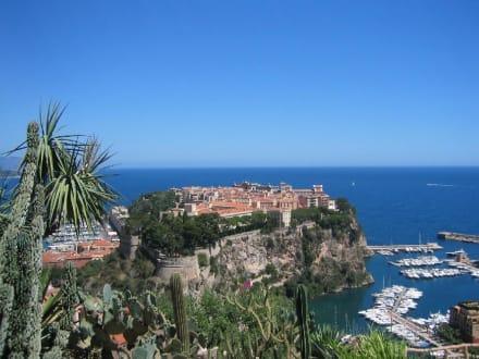 Blick vom Jardin Exotique auf Monaco - Botanischer Garten Monaco Monte Carlo