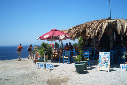Taverne mit Blick auf Meer - Embros Therme