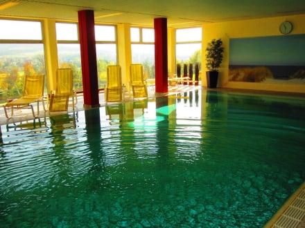 schwimmbad im sonnenschein bild landhotel betz in bad soden salm nster hessen deutschland. Black Bedroom Furniture Sets. Home Design Ideas