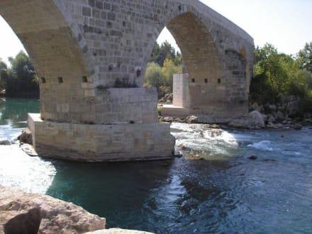 Blick auf die Brücke vom Ufer aus - Aspendosbrücke