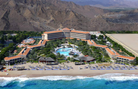 Arial Shot of Fujairah Rotana from the beach side -