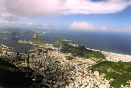 Blick von Corcovado auf Rio de Janeiro - Christusstatue Cristo Redentor