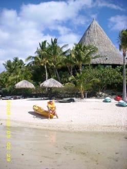 Kanutour zum Motu Hotel Sofitel - Strand am Motu