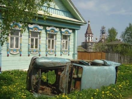 Typische Strassenidylle in Russland - Pleschtschejowo See