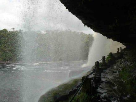 unter dem Wasserfall - Wasserfälle von Canaima - Salto Sapo