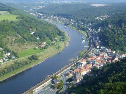 Blick von der Festung Königstein auf die Elbe - Festung Königstein