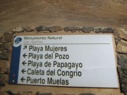 Wegweiser bei den Papagayo Stränden - Playa de Papagayo