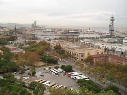 Blick vom Berg auf den Hafen - Parc Montjuic