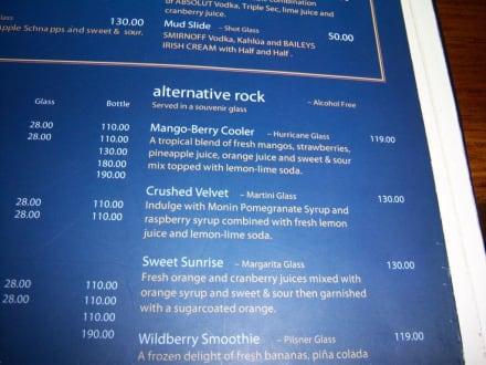 Hard Rock Cafe Cocktailkarte