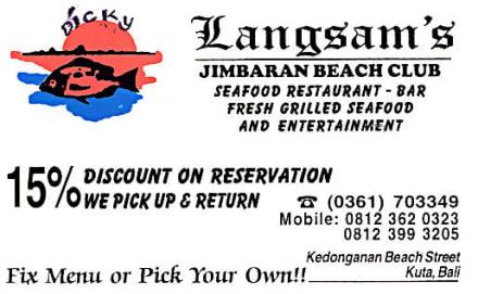 Visitenkarte des Langsam's - Langsam's Jimbaran Beach Club