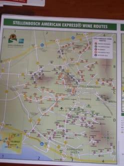 Karte des Stellenbosch-Weingebietes - Weingebiet Stellenbosch