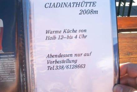 Die Speisekarte Teil 1 - Ciadinat-Hütte