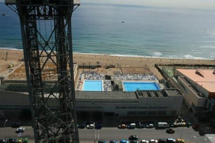 Stadtstrand mit Schwimmbad - Hafenseilbahn Barcelona