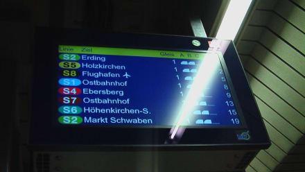Anzeigetafel der nächsten S-Bahnen - Transport